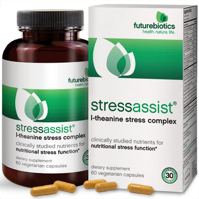 Front View of Futurebiotics StressAssist L-Theanine Stress Complex Bottle and Box