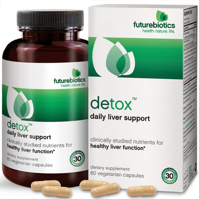 Front View of Futurebiotics Detox Daily Liver Support Bottle and Box