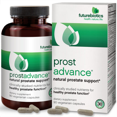 Front View of Futurebiotics ProstAdvance Natural Prostate Support Bottle and Box