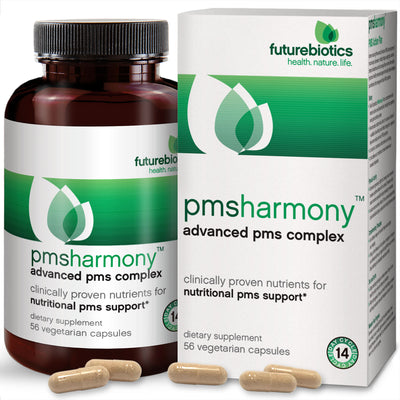 Front View of Futurebiotics PMSHarmony Advanced PMS Complex Bottle and Box