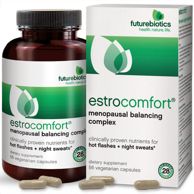 Front View of Futurebiotics EstroComfort Menopausal Balancing Complex Bottle and Box
