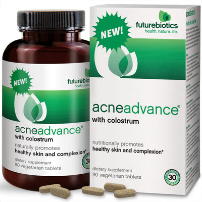Futurebiotics AcneAdvance with Colostrum bottle and box