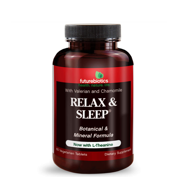 Front View of Futurebiotics Relax & Sleep Support Supplement, 60 Tablets Bottle