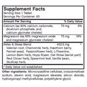 Nutritional Label for Futurebiotics Relax & Sleep Support Supplement, 60 Tablets
