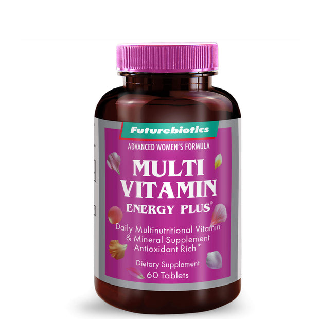 Front View of Futurebiotics Multivitamin Energy Plus for Women, 60 Tablets Bottle