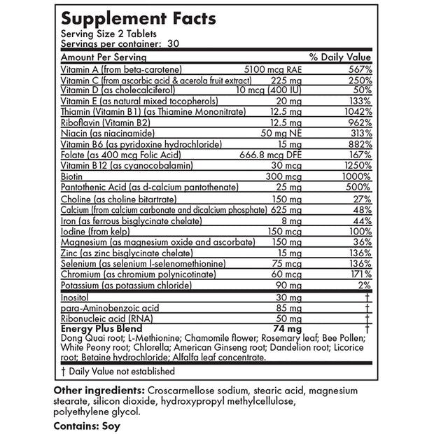 Nutritional Label for Futurebiotics Multivitamin Energy Plus for Women, 60 Tablets