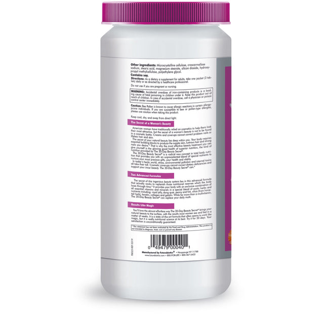 Back view of the Futurebiotics Anti-Aging Supplements Bottle