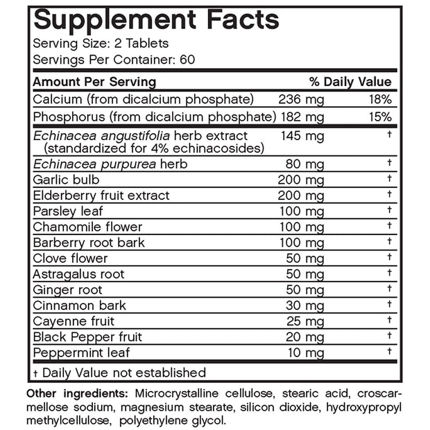 Nutritional Label for Front View of Futurebiotics Garlic Echinacea Elderberry Immune Support