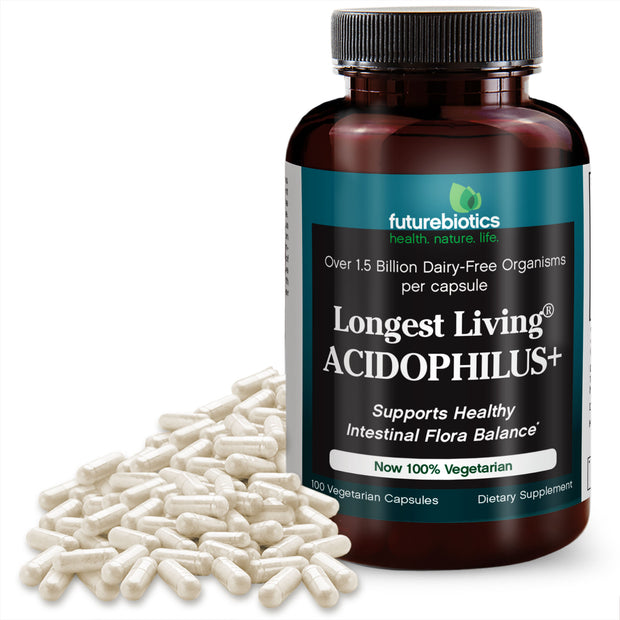 Futurebiotics Longest Living Acidophilus+ Probiotic Supplement, 100 Capsules (19.5mg of Probiotics per Capsule)