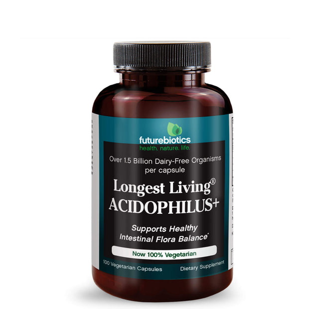 Front View of Futurebiotics Longest Living Acidophilus+ Probiotic Supplement Bottle