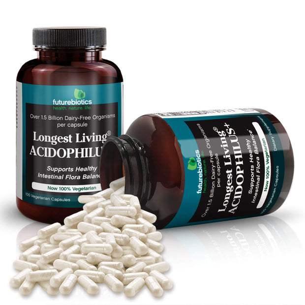 Futurebiotics Longest Living Acidophilus+ Probiotic Supplements and Bottle