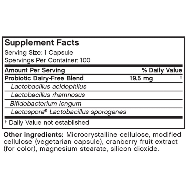 Nutritional Label for Futurebiotics Longest Living Acidophilus+ Probiotic Supplement