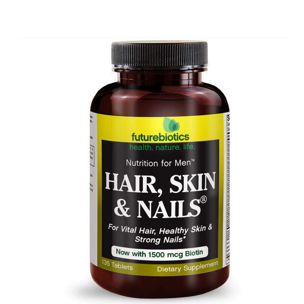 Front View of Futurebiotics Hair, Skin, & Nails Nutrition for Men Bottle