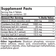 Nutritional Label for Futurebiotics Cranberry Plus with Vitamin C & Herbs