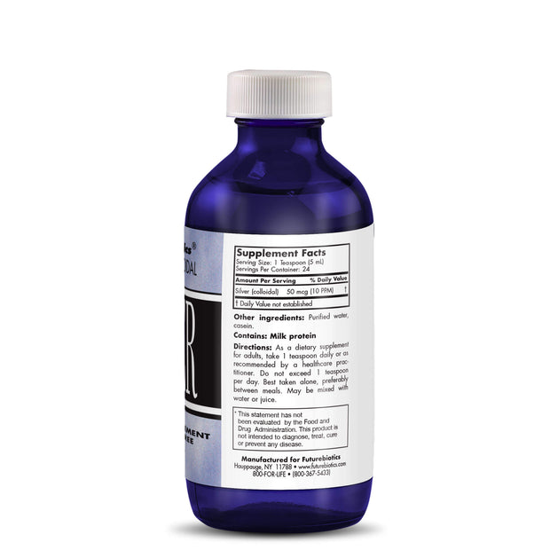 Side View of Futurebiotics Advanced Colloidal Silver Bottle
