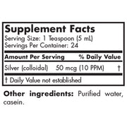 Nutritional Label for Futurebiotics Advanced Colloidal Silver