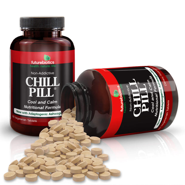 Futurebiotics Natural Relaxation Chill Pill Bottles and Supplements