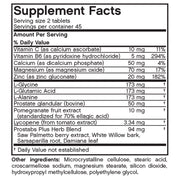 Nutritional Label for Futurebiotics Prostabs Plus Prostate Health Tablets
