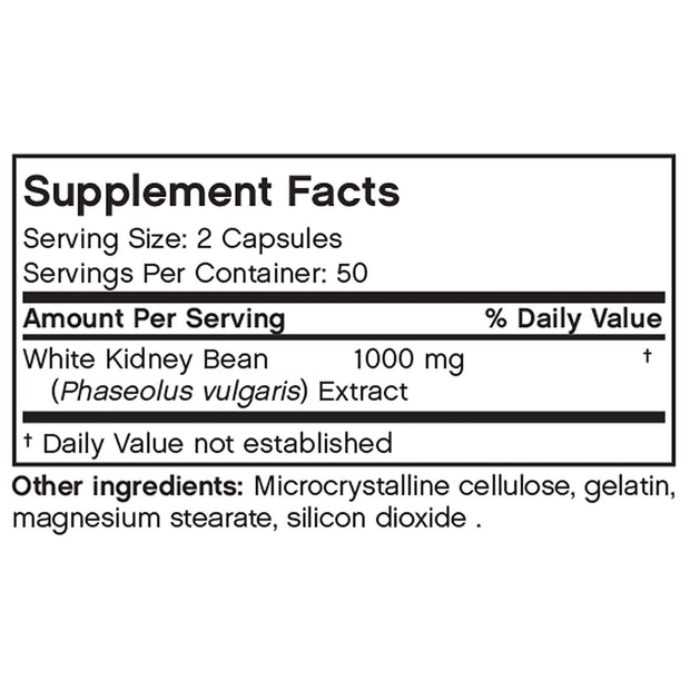 Nutritional Label for Futurebiotics White Kidney Bean Extract