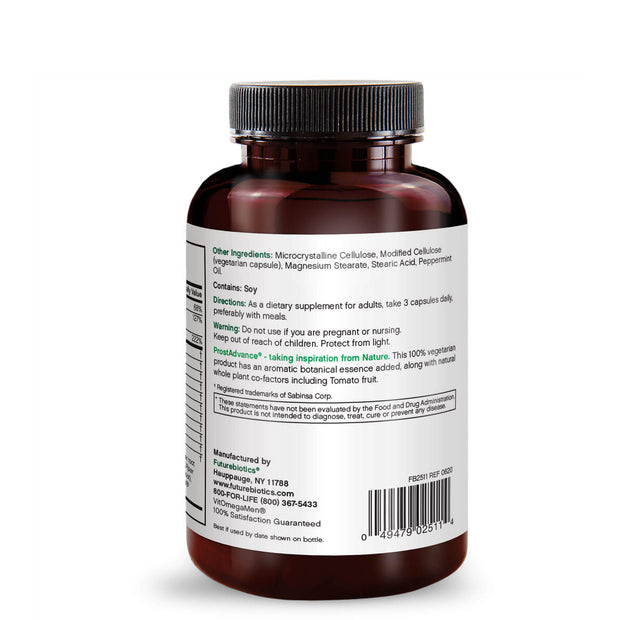 Back View of Futurebiotics ProstAdvance Natural Prostate Support Bottle