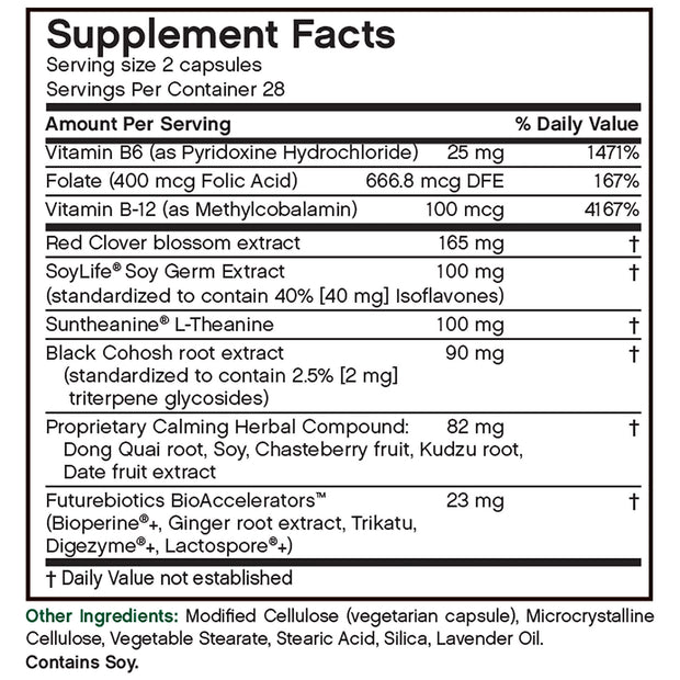 Nutritional Label for Futurebiotics EstroComfort Menopausal Balancing Complex