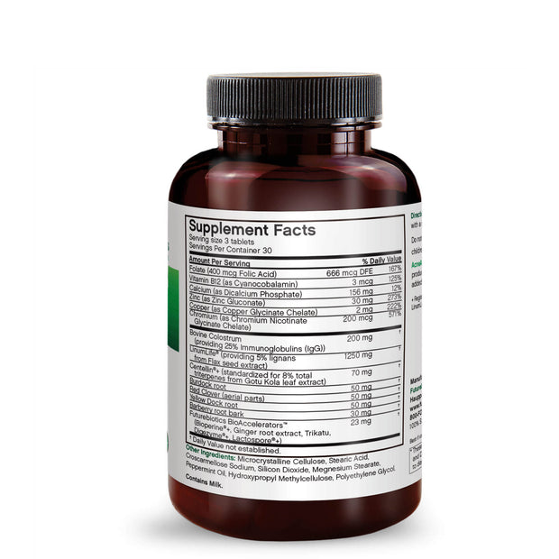 Side view of the Futurebiotics AcneAdvance with Colostrum bottle