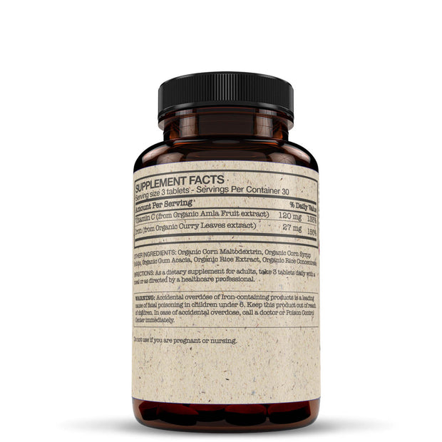 Side View of Futurebiotics Iron + Vitamin C Bottle