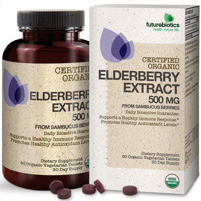 Front View of Futurebiotics Elderberry Extract Bottle and Box