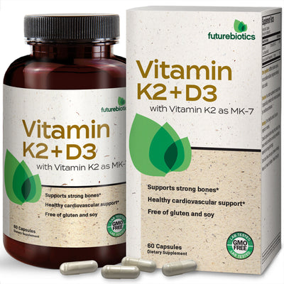 Front View of Products Futurebiotics Vitamin K2 (MK7) with D3 Bottle and Box