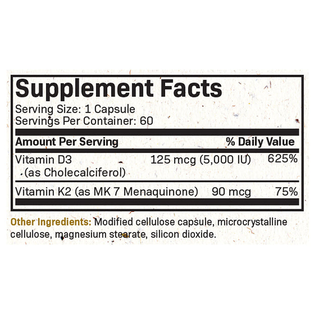 Nutritional Label for Products Futurebiotics Vitamin K2 (MK7) with D3