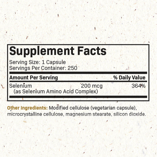 Nutritional Label for Futurebiotics Selenium 250 Capsules