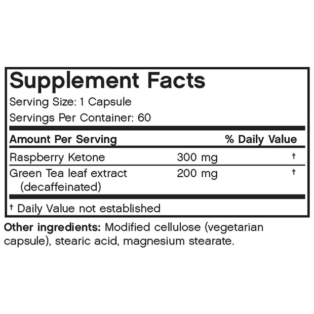 Nutritional Label for Futurebiotics Red Raspberry Ketone + Green Tea