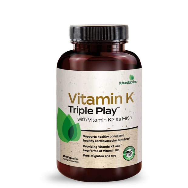 Front View of Futurebiotics Vitamin K Triple Play (180 Capsules) Bottle