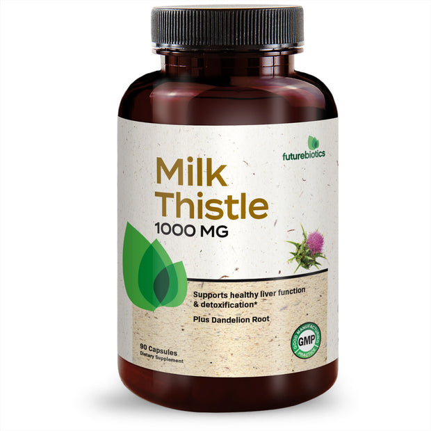 Futurebiotics Milk Thistle 1000mg Silymarin Marianum & Dandelion Root Liver Health Support, 90 Capsules