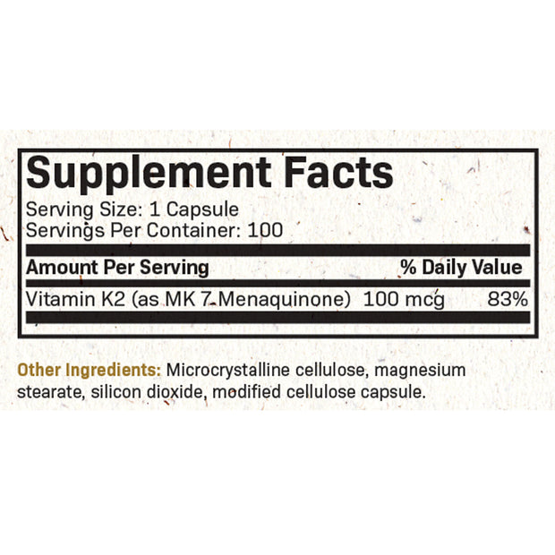 Vitamin K2 as MK-7 100 mcg - Non-GMO, 100 Vegetarian Capsules