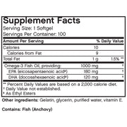 Nutritional Label for Futurebiotics Omega-3 Fish Oil