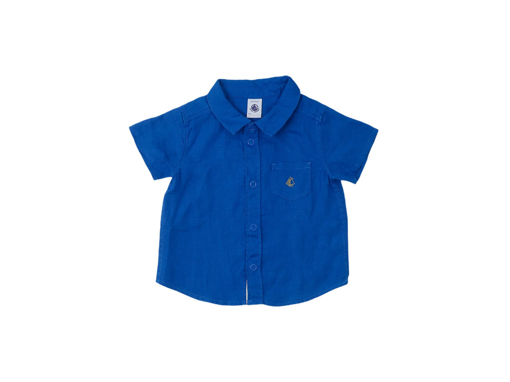 Mini Lama - Pre-loved Blue Shirt 12 months by PETIT BATEAU
