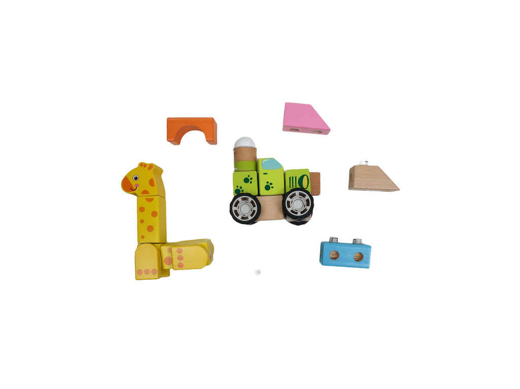 TAUNO - Wooden toy - Forest Animal Building Blocks