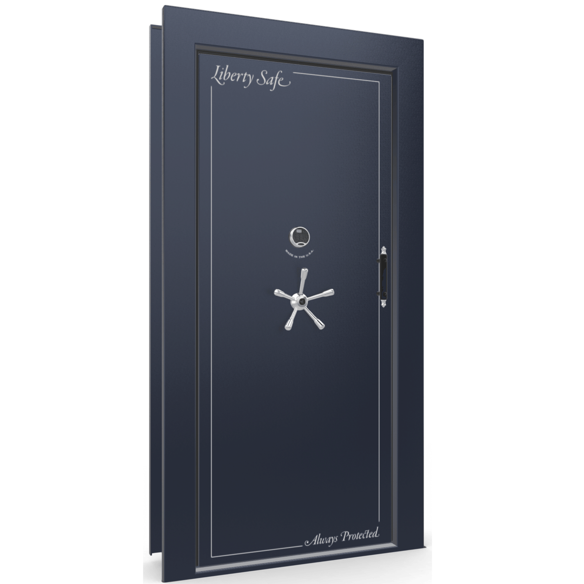 Vault Door Series | Out-Swing | Left Hinge | Blue Gloss | Mechanical Lock