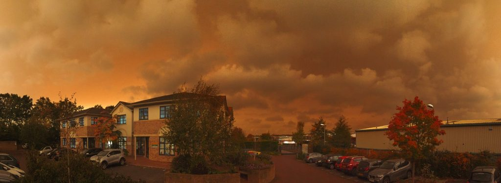 Red Sky From East Sussex, London, red sky phenomenon