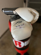 "Load image into Gallery viewer, ""for the raza"" sticker on boxing gloves"