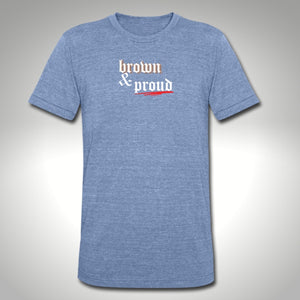 """brown & proud"" heather blue t-shirt"