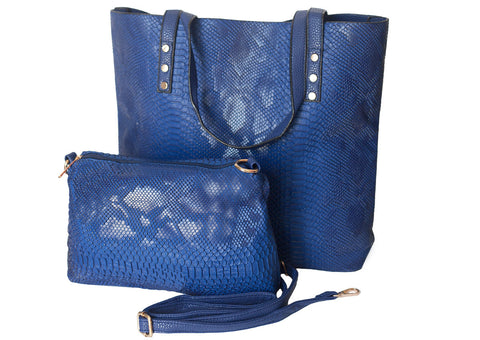 Chancia Reversible shopper Tote - Blue/Blue - Gingerlining