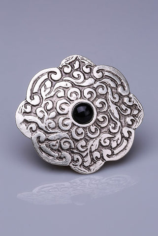 Silver Plated Magnetic Brooch - Adara / Black (1649705844780)