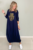 Long Sleeves 2 In 1 Dress / Navy with Gold Hamsa Print (5715955187866)