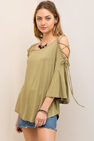 Strappy Bamboo Open Top - Olive