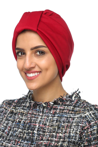 Lycra Tab Turban - Red - Gingerlining (477758652454)