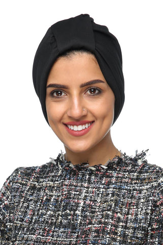 Lycra Tab Turban - Black - Gingerlining