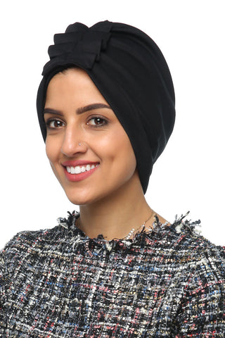 Lycra Fan Turban - Black - Gingerlining