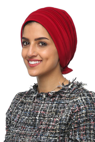 Lycra Fitted Pleat Turban - Red - Gingerlining (477803872294)